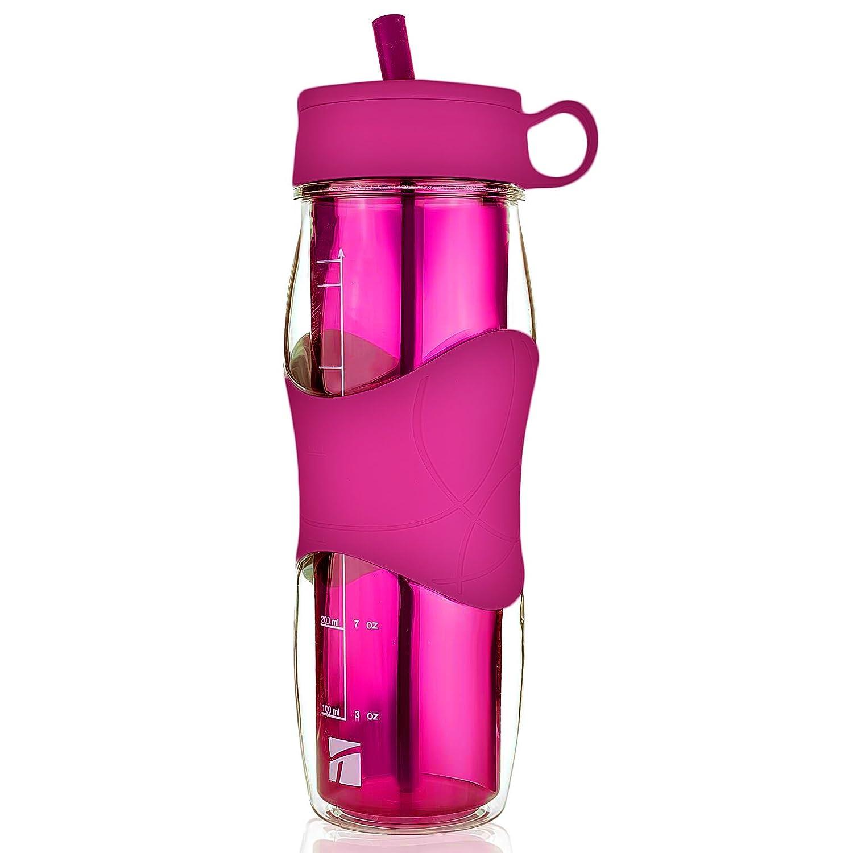 Trudeauプラスチック水ボトル16オンス、BPAフリーTritanハードマテリアル、で柔軟なシリコンストロー、スポーツ水ボトルW/Cool Cold Drinkingポータブルアウトドア自転車用やキャンプ& gym-ピンク B07DHWVWTN