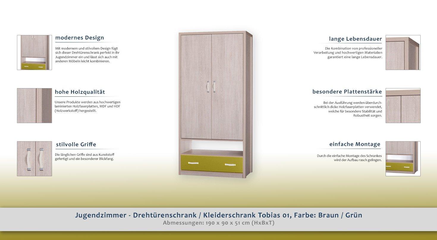 Jugendzimmer - Drehtürenschrank/Kleiderschrank Tobias 01, Farbe ...