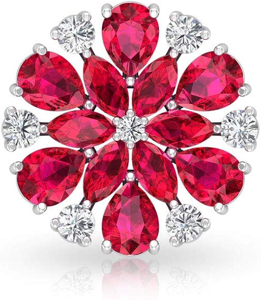 Aretes con halo de diamante certificado IGI de 4,44 ct, color rojo antiguo, con piedra natal de julio, copo de nieve, vintage, nupcial, ideal para regalos, tornillo hacia atrás