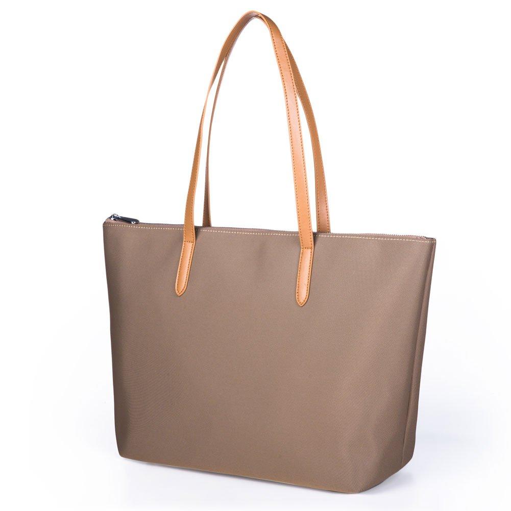 Lecxci Women's Oxford Nylon Waterproof Tote Bag Large Capacity Satchel Shoulder Travel Bags (L, Khaki)