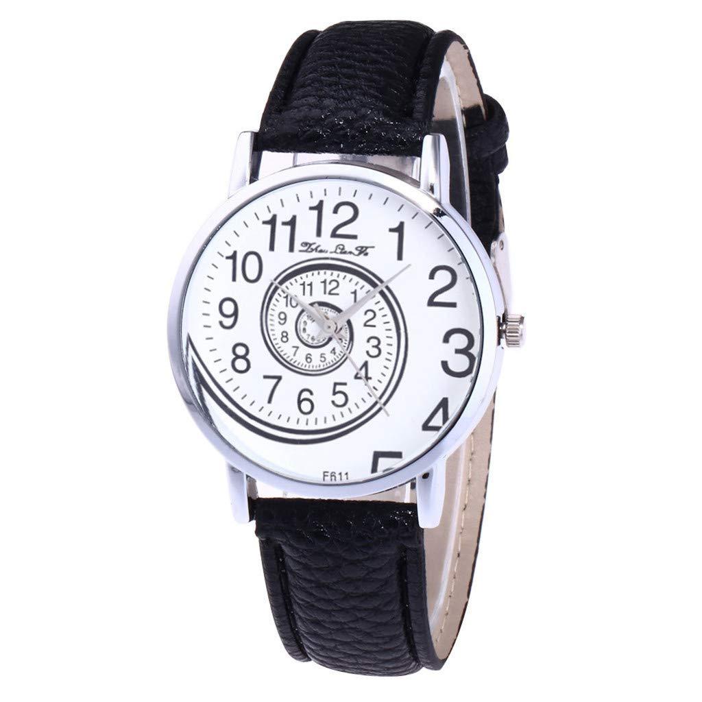 NXDA Women's ultra-thin wrist watch casual PU leather strap analog quartz movement watch fashion rotating snail dial (Black)