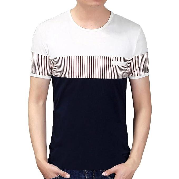 LuckyGirls Camisetas Hombre Manga Corta Moda Verano Rayas Color de Hechizo Polos Personalidad Casual Originales Blusa Camisas Remera: Amazon.es: Ropa y ...