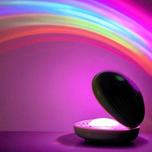 AOLVO Lámpara de proyector de arcoíris, recargable por USB, con ...