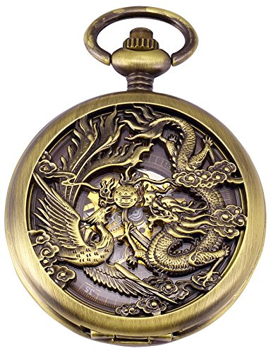 AMPM24 Dragon Skeleton Bronze Case Mechanical Pocket Watch WPK230 by AMPM24