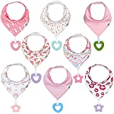 Baby Bandana Drool Teething Bibs for Girl - Super Absorbent Organic Cotton Bibs with Teethers for Girls,Teething Toy…