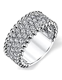 Metal Masters Co.® Three Row Round Cut Cubic Zirconia Sterling Silver Wedding Band Ring 9mm