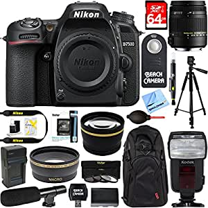 Nikon D7500 20.9MP DX-Format 4K Ultra HD Digital SLR Camera (Body Only) + Sigma 18-250mm Macro Lens Microphone & Accessory Bundle
