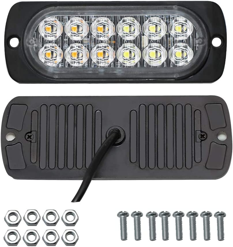Sync Feature 12-LED Surface Mount Flashing Strobe Lights for Truck Car Vehicle LED Mini Grille Light Head Emergency Beacon Hazard Warning lights Amber//White