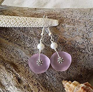 """product image for Handmade in Hawaii,""""October Birthstone Color"""" pink sea glass earrings, Freshwater pearl, (Hawaii Gift Wrapped, Customizable Gift Message)"""