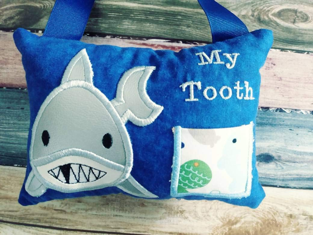Personalized Shark Tooth Fairy Pillow for boys or girls