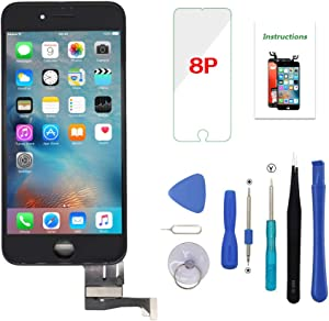 iPhone 8 Plus Screen Replacement Black 3D Touch Screen LCD Digitizer Replacement Frame Display Assembly Set with Repair Tool Kit (iPhone 8 Plus Screen, Black)