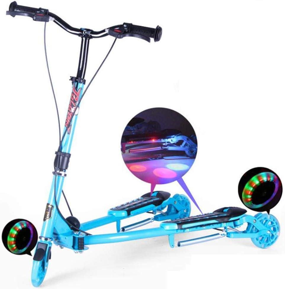 Los niños' S de la rana de ciclomotores de tres ruedas triciclo Twisted oscilación flash ruedas 3-12 años pedal monopatín tijeras plegables LQH (Color : Pink)