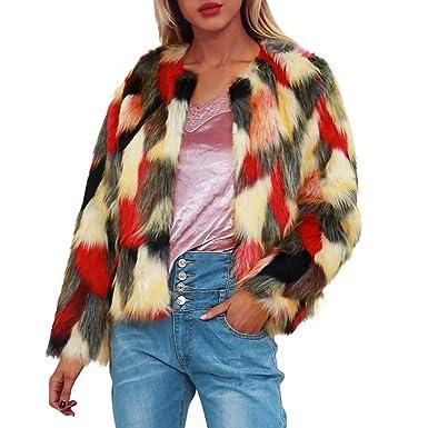 FIRERO Womens Ladies Warm Faux Fur Patchwork Coat Jacket Winter Gradient Color Parka Outerwear