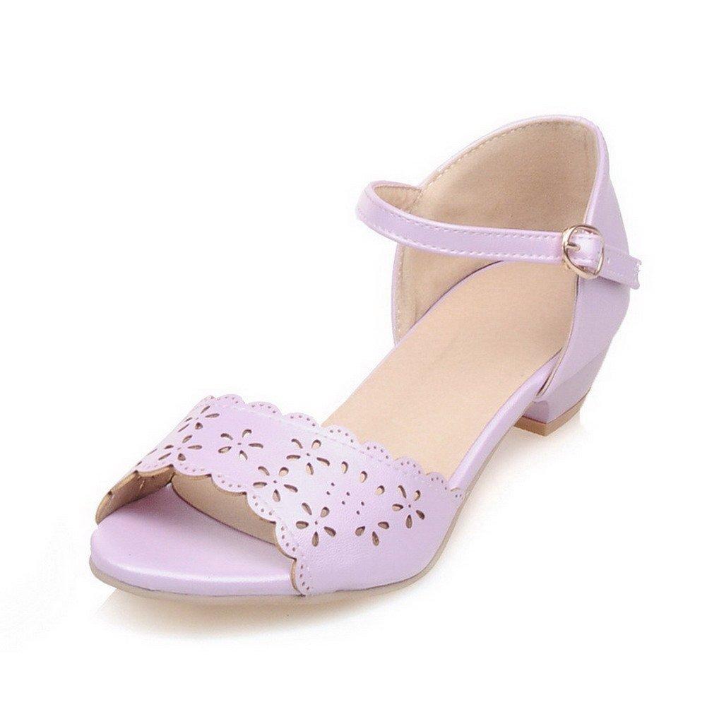 WeiPoot Women's Open Toe Low heels Soft Material Solid Buckle Sandals, Purple, 34
