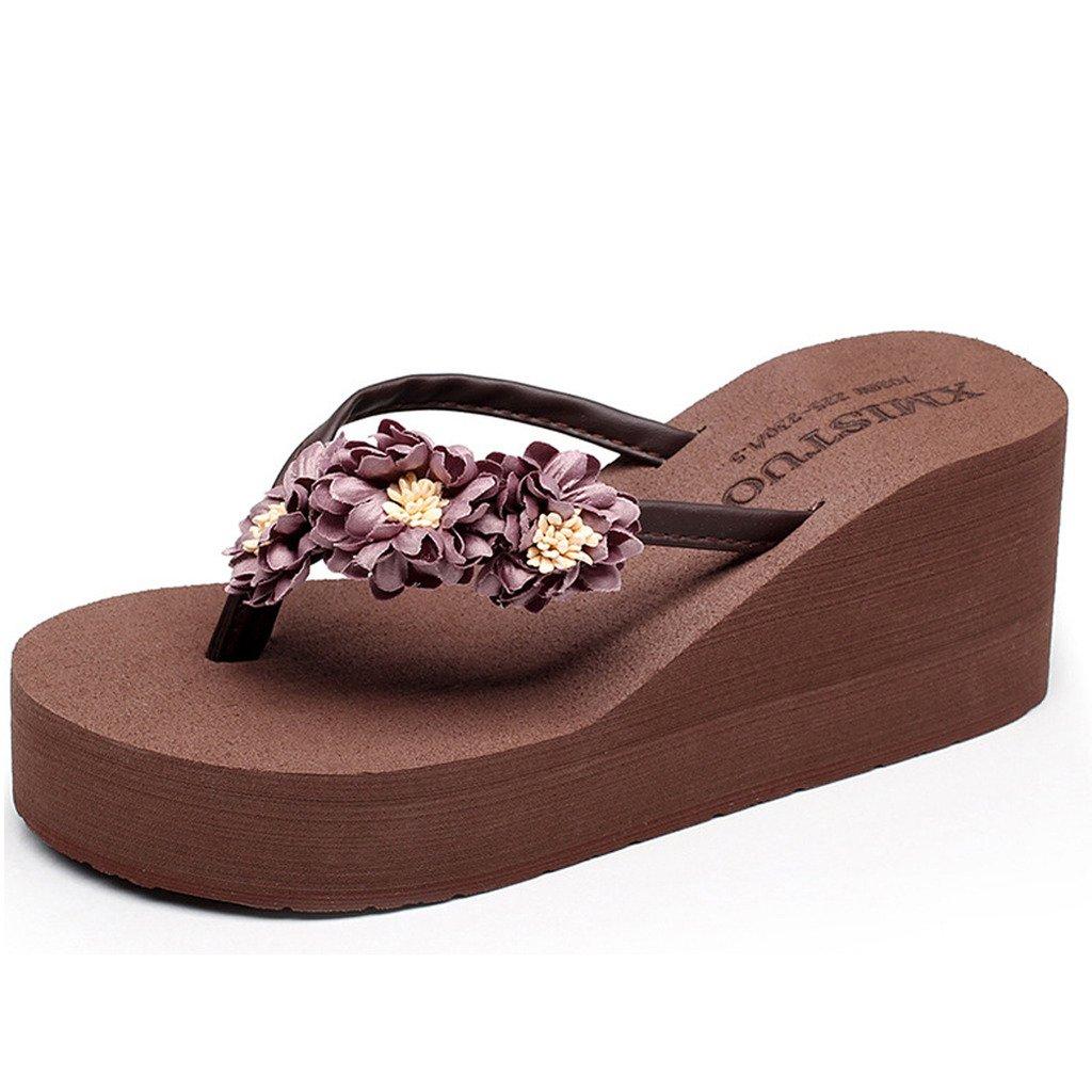 fb5d493e221860 Eagsouni Bohemia Flip Flops Daisy Platform Wedge Sandals