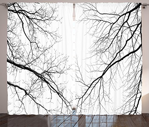 Ambesonne Forest Curtains, Trees Branches Leafless Spooky Scary Image in a Gloomy Air Sky Scene Image, Living Room Bedroom Window Drapes 2 Panel Set, 108 W X 63 L Inches, Black and White - Leafless Tree Branches