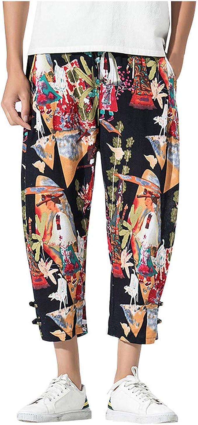 Kaister - Pantalón de Trabajo para Hombre, pantalón Chino, pantalón Ancho, de algodón y Lino, Estampado Vintage, Informal Amarillo L: Amazon.es: Ropa y accesorios