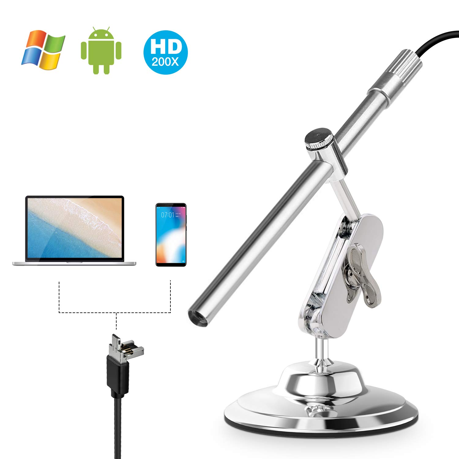 USB Microscope, Depstech IP67 Waterproof Digital Endoscope Inspection Camera with Zoom Lens 10X-200X Magnification, CMOS Camera for Android Smartphone, PC & Macbook OS Computer