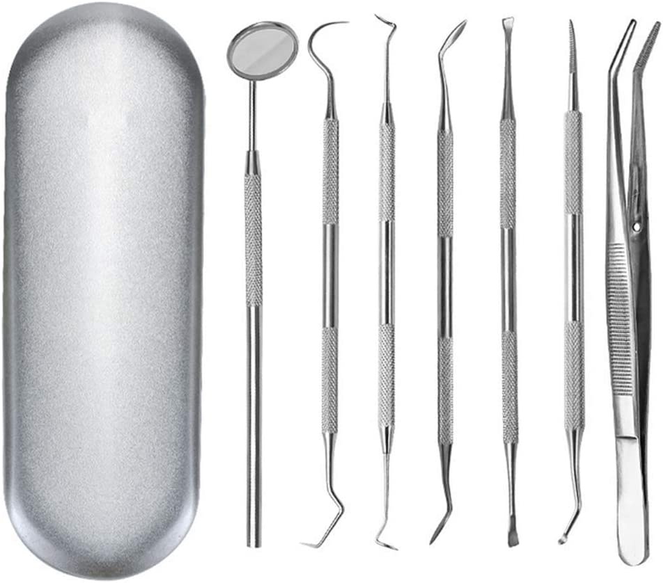 AWSW Tooth Cleaning Toolnew Dental Tartar Calculus Plaque Remover Tooth Scraper Dental Mirror Scaler Set Steel Tooth Pick Dental Scaler and Mouth Mirror, Dentist Home Use for Personal