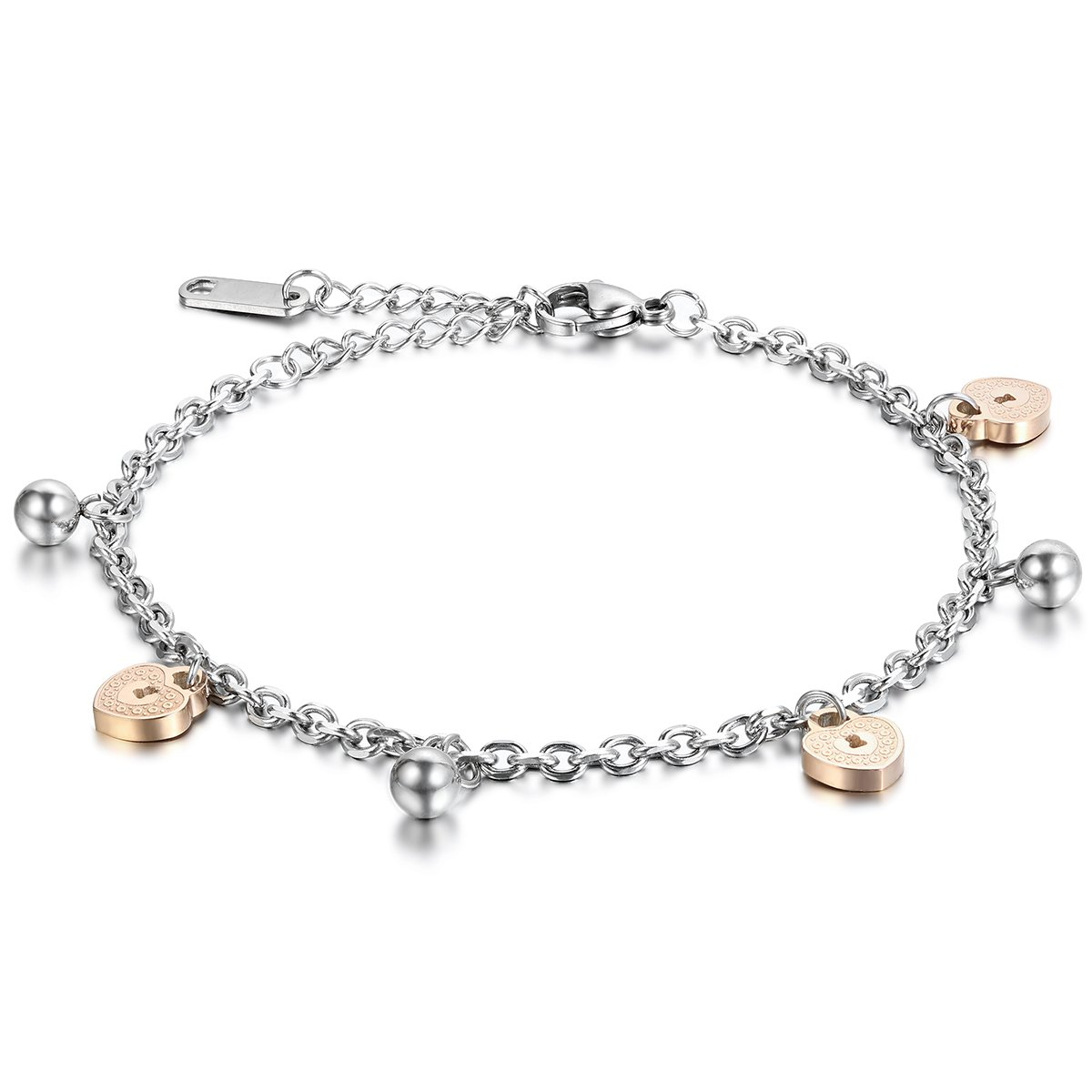 Stainless Steel Heart Lock Bracelet,Cupimatch Women Adjustable RoseGold Plated Chain Charms Bracelet Anklet 9.4 CU-MI-24