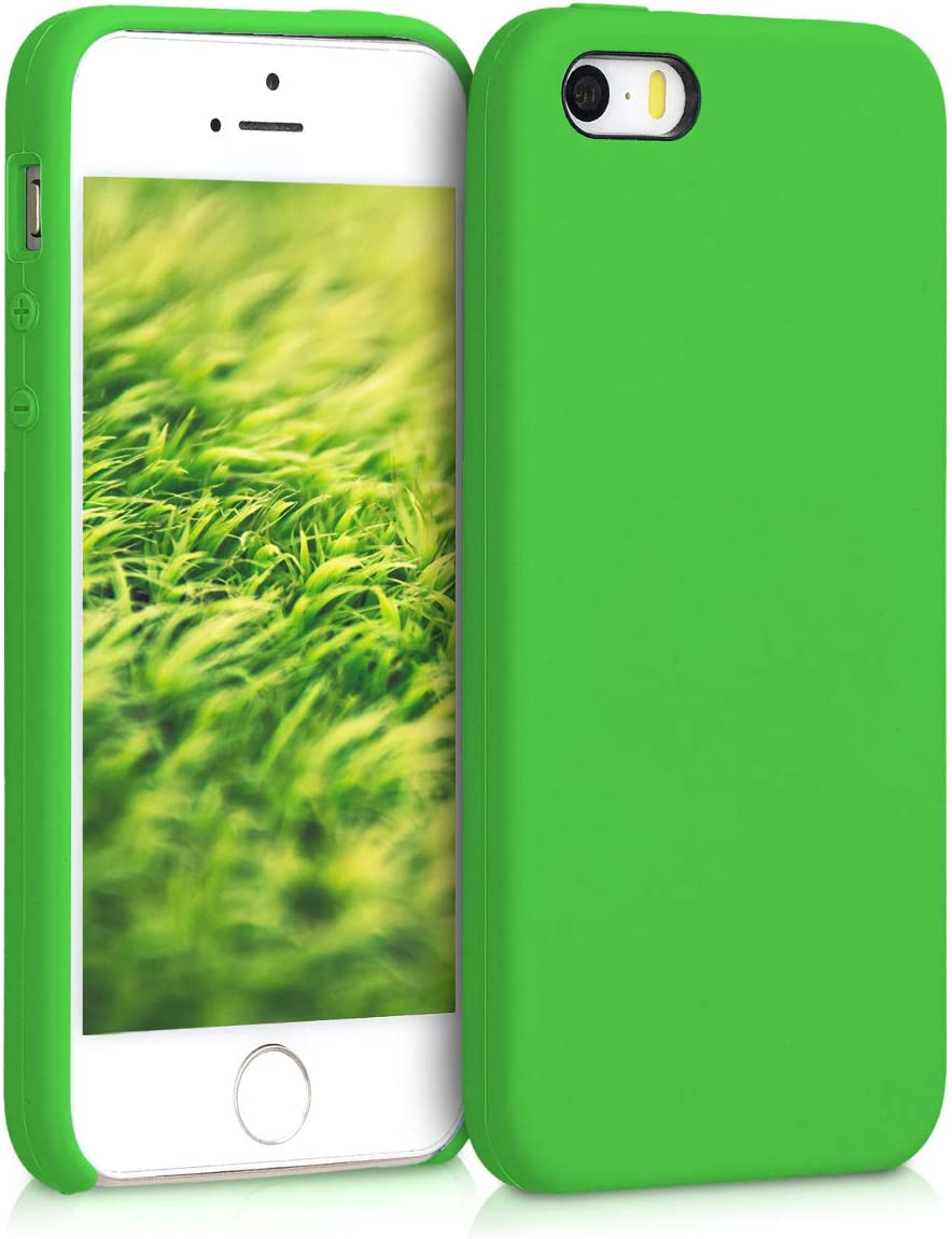 kwmobile TPU Silicone Case Compatible with Apple iPhone SE (1.Gen 2016) / 5 / 5S - Case Slim Protective Phone Cover with Soft Finish - Lime Green