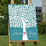 Custom Wedding Guest Book Alternative Art Canvas Print Signature Family Tree Personalized Wedding Gifts 120 Leaves for Soliciting Signatures 16x20 inch Wedding Guestbook Poster