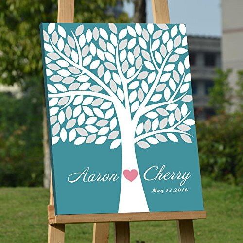 Custom Wedding Guest Book Alternative Art Canvas Print Signature Family Tree Personalized Wedding Gifts 120 Leaves for Soliciting Signatures 16x20 inch Wedding Guestbook Poster by Larmai