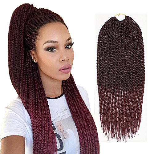 (XtrendHair 6pcs 18 Inch Senegalese Ombre braiding hair 30Strands Synthetic Crochet Twist Hair for Women 75g/Pack (1b/530#, 6Pack))