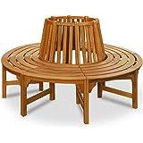 Baumbank 360° | FSC-zertifiziertes Eukalyptusholz | Ø 190 cm | Vorgeölt | Rundbank Gartenbank Holzbank Bank