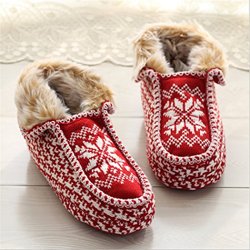 Zoylink Women Christmas Slippers Printed Slippers Slippers Cotton S for Winter Warm Snowflake vxtwUnrvRq
