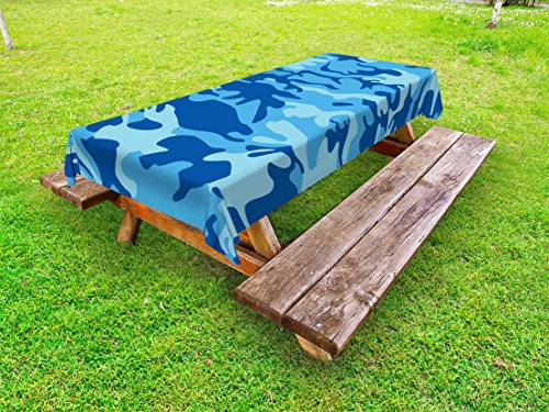 Ambesonne Camouflage Outdoor Tablecloth, Abstract Camouflage Costume Concealment from the Enemy Hiding Pattern, Decorative Washable Picnic Table Cloth, 58 X 84 Inches, Pale Blue Navy Blue by Ambesonne