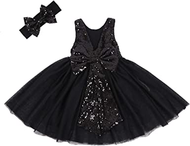 Kids Baby Flower Girls Bow Sequins Tulle Tutu Dress Pageant Party Wedding Gown