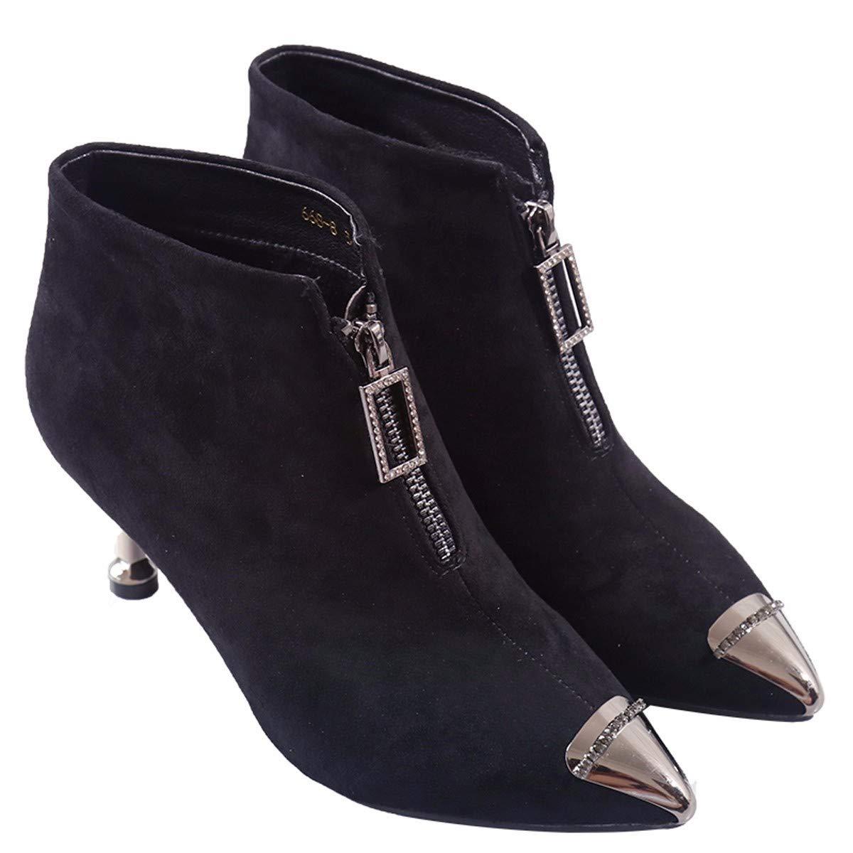 LBTSQ-Mode/Damenschuhe/Im Winter Ist Das Kurze Stiefel Sind 6 cm Hoch Samt Dünn Sharp - Reißverschluss Katze Ferse Ma Dingxue.