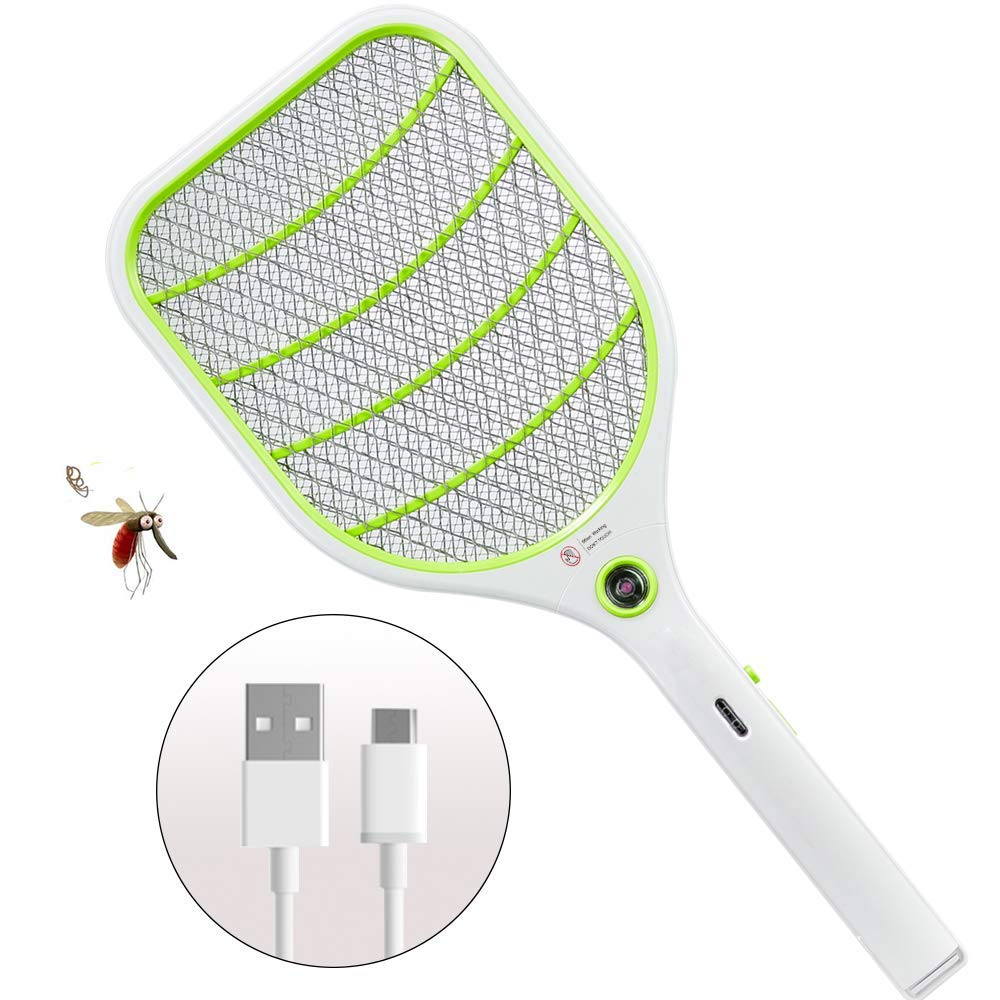 H&RB Bug Zapper Racket, Electric Fly Swatter, Fly Killer e zanzara Swatter-USB ricaricabile-3000 Volt-Bright LED Luce-Unico 3-Layer Sicurezza Mesh sicura,verde