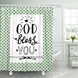 Breezat Shower Curtain Bible Hand Lettering God Bless You Biblical Christian Scripture Love Waterproof Polyester Fabric 60 x 72 Inches Set with Hooks