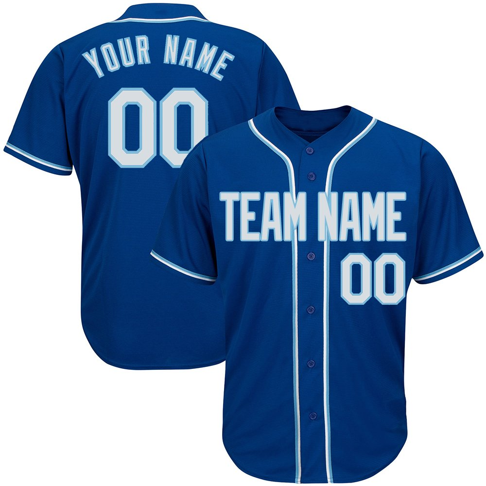 Custom Men's Royal Blue Full Button Baseball Jersey with Stitched Team Name Player Name and Numbers,White-Light Blue Size S
