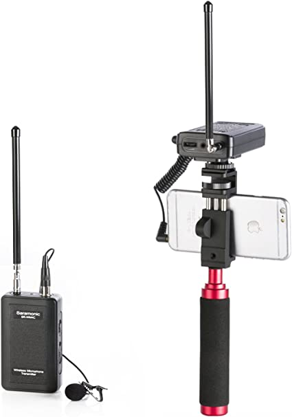 Saramonic SR-WM4C Wireless Lavalier Microphone System for iOS Smartphone iPhone 8 7 7 Plus 6 iPad and DSLR Cameras Camcorder Canon 6D 600D 5D Nikon D800 Sony DV