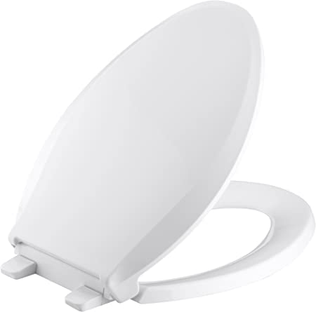 KOHLER K-4636-0 Cachet Elongated White Toilet Seat, with Grip-Tight Bumpers, Quiet-Close Seat, Quick-Release Hinges, Quick-Attach Hardware, No Slam Toilet Seat, White - Kohler Memoirs Replacement Toilet Seat - Amazon.com