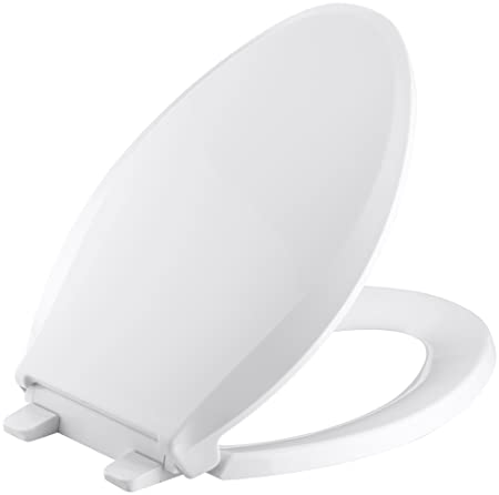 Miraculous Kohler K 4636 0 Cachet Elongated White Toilet Seat With Grip Tight Bumpers Quiet Close Seat Quick Release Hinges Quick Attach Hardware No Slam Theyellowbook Wood Chair Design Ideas Theyellowbookinfo