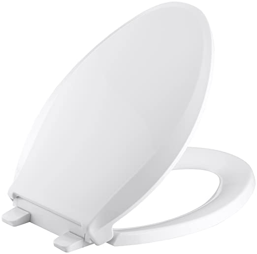 Magnificent Kohler K 4636 0 Cachet Elongated White Toilet Seat With Grip Tight Bumpers Quiet Close Seat Quick Release Hinges Quick Attach Hardware No Slam Ibusinesslaw Wood Chair Design Ideas Ibusinesslaworg