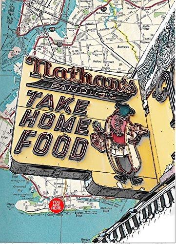 Brooklyn, New York: Nathan's Famous, Hot Dog Stand, Coney Island, souvenir fine art print, original map print, 8.5