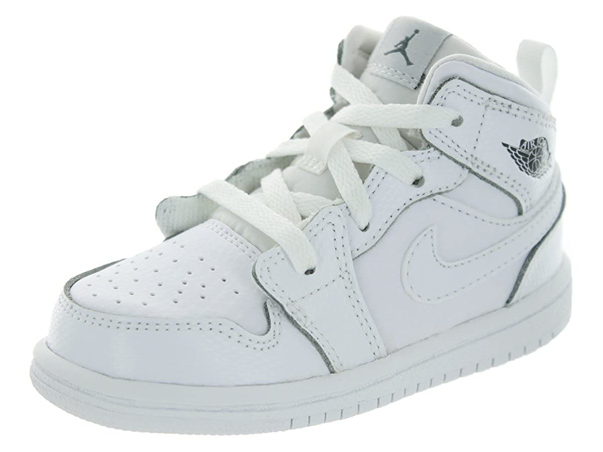 eb1295dbbba60 Amazon.com  Nike Jordan Toddlers Jordan 1 Mid Bt White White Wlf Gry  Basketball Shoe 10 Infants US  Shoes