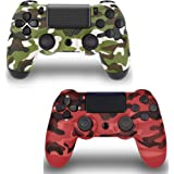 2 Pack Wireless Controller for PS4 - JUEGO Remote for Playstation 4 Control,Red and Green Camouflage 2pack PS4…