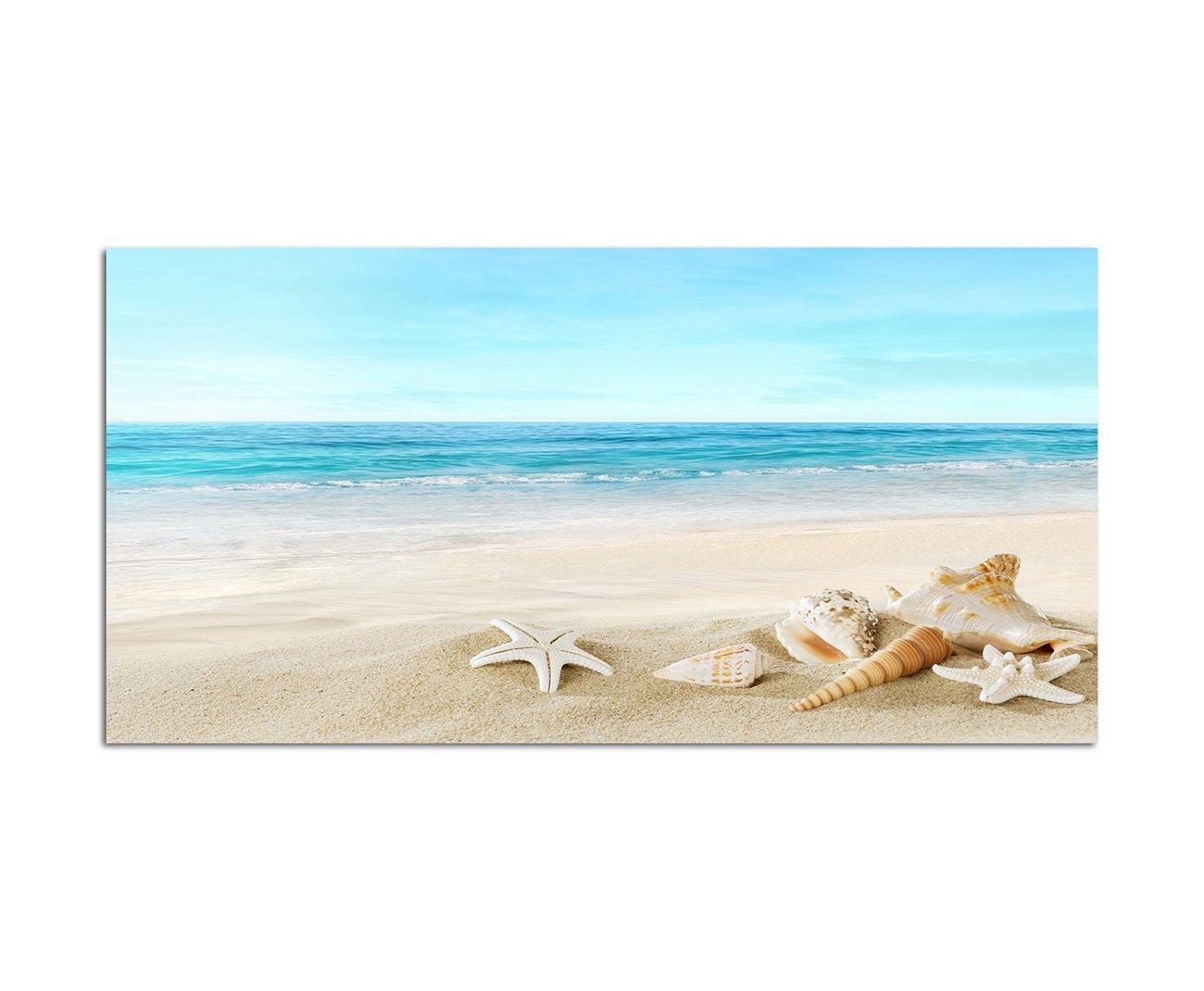 120x80cm - Fotodruck auf Leinwand und Rahmen Strand Meer Muscheln Seestern Sand - Leinwandbild auf Keilrahmen modern stilvoll - Bilder und Dekoration Augenblicke Wandbilder