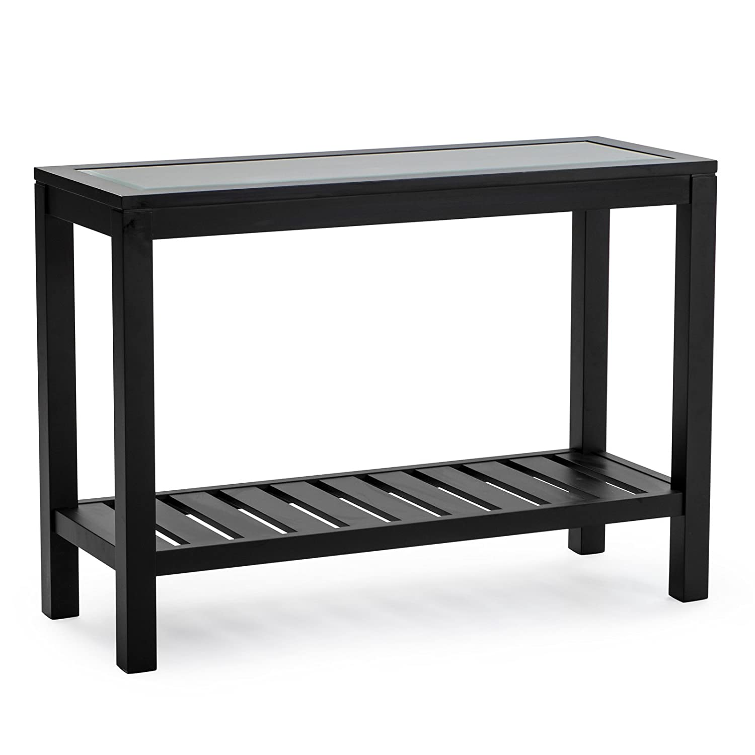 Amazon Sutton Glass Top Console Table with Slat Bottom