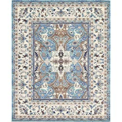 Unique Loom Tradition Collection Vintage Floral Medallion Light Blue Area Rug (8' x 10')