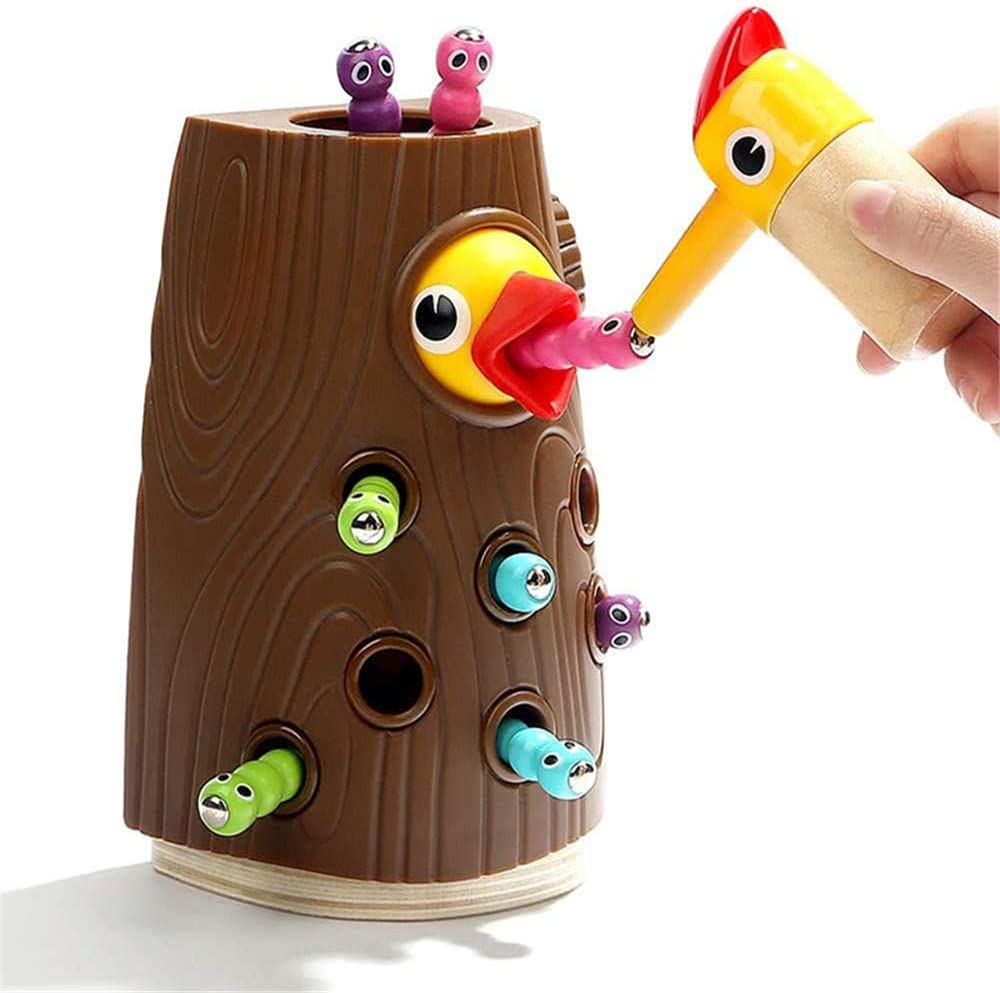 Catching and Feeding Game Woodpecker Toy Fine Motor Skills Toys Preschool Educational Learning Toys for Kids Gift UNIH Magnetic Toddler Toy for 2-4 Year Old Girls Boys