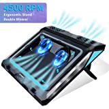 Laptop Cooler,Laptop Cooling Pad for 14-17 Inch Gaming Laptop, Double Blower Cooler Pad with Dust Filter, Flexible Rubber Rin