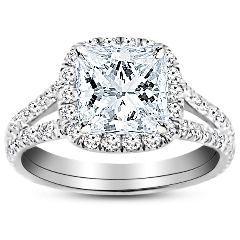 2.2 Carat 14K White Gold Split Shank GIA Certified Princess Cut Diamond Engagement Ring (1.7 Ct K Color VS2 Clarity Center Stone) by Houston Diamond District