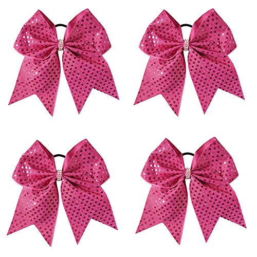 CN 6 Inch Large Baby Girls Cheer Bows Ponytail Holder Hair Bow For Teens Baby Infant Cheerleader Pack of 4